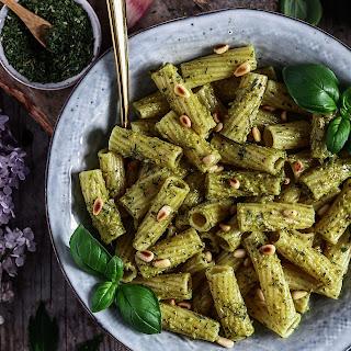 Pasta with Avocado Pesto, Pine Nuts and Basil Recipe