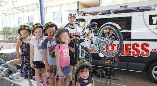 Learning about safe cycling were Tallara Lamb, Lucy Adams, C J Lamb, Aleka Russell and Kyneneil Gibbs with Bike and Fitness mechanic Mitchell Bartley at Narrabri Public School on Thursday.