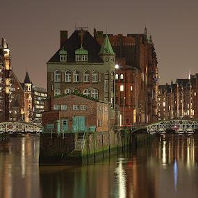 Hamburg Speicherstadt by Dirk Sachse - City,  Street & Park  Night ( water, harbour, night, germany, hamburg )