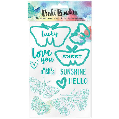 Vicki Boutin Mixed Media Stamps & Dies Set - Moth