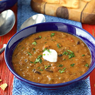 Hearty Lentil & Black Bean Soup with Smoked Paprika.