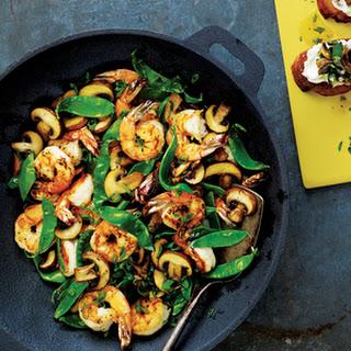 Shrimp, Mushroom and Snow Pea Stir-Fry.