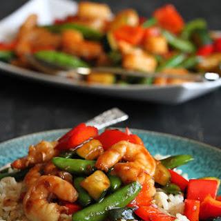 Shrimp & Vegetable Stir Fry Recipe with Jasmine Rice.