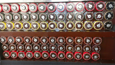 Photo: This is the front of the Bombe, the computational engine Alan Turing and others built to help identify which encryption settings the Enigma machines had been using each day. There's actually another row of wheels above, out of frame: each stack of three represents one possible Enigma.   When it's in action it goes CLACKCLACKCLACK in a very satisfying way!