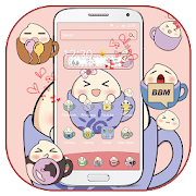 Download App Pink tea cup cute steamed bun Desktop Theme