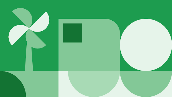 Green and white graphic shapes together to symobolize how 24/7 carbon-free energy operates.