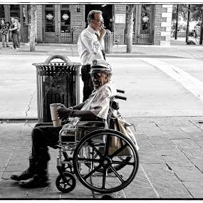 Change or A Smoke by Alice Gipson - People Street & Candids ( street candid, man in wheelchair, austin men, alicegipsonphotographs, men, man )