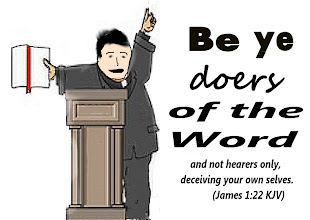 Photo: Clipart of a chubby caucasian preacher with books giving a sermon at a stand.