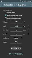 Screenshot of Electrical calculations