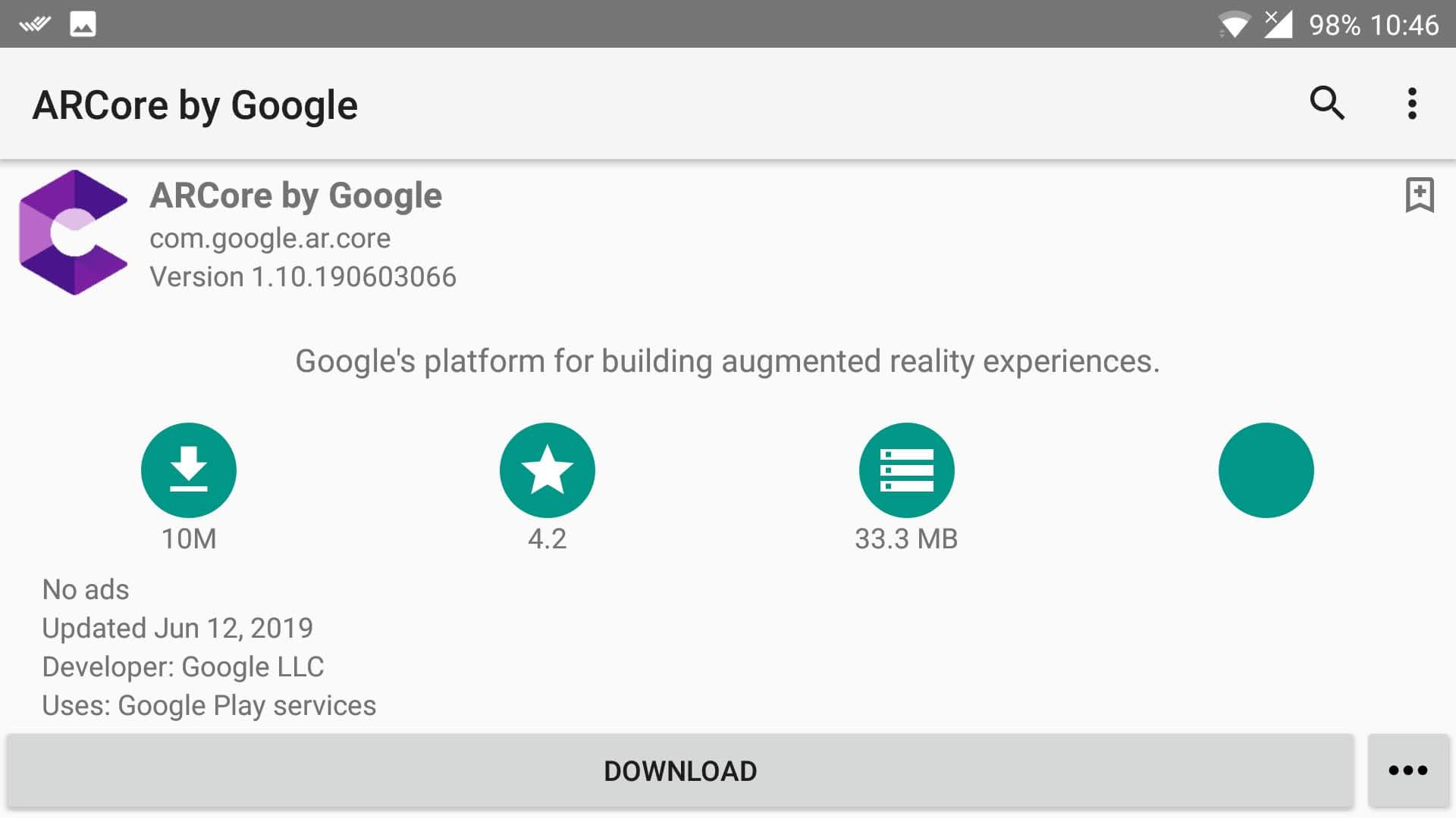Download/Update ARCore on supported devices but unavailable