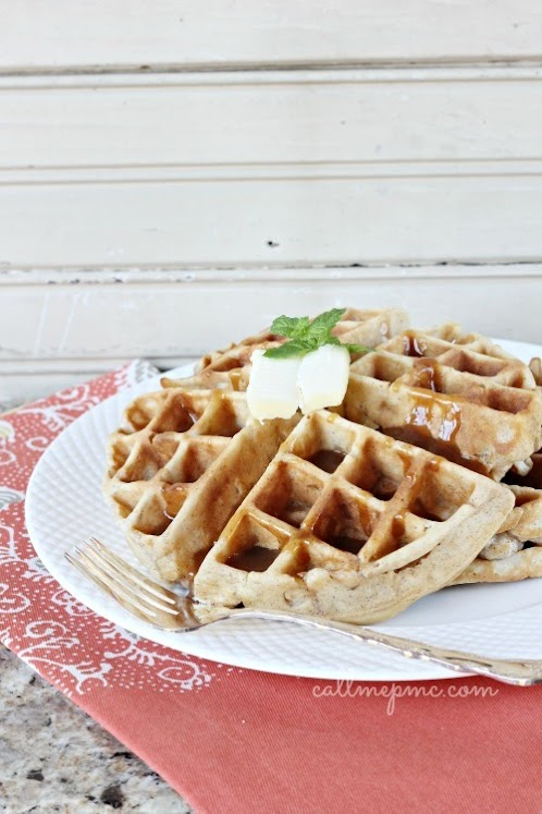 Blue Ribbon Apple Fritter Waffles With Caramel Sauce