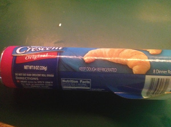 while the eggs are cooking open the crescent rolls and break each pack in...