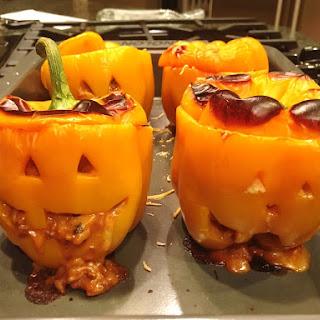 Cheesy Chili & Rice Stuffed Jack O' Peppers