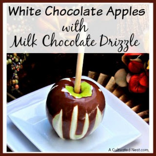 White Chocolate Apples with Milk Chocolate Drizzle