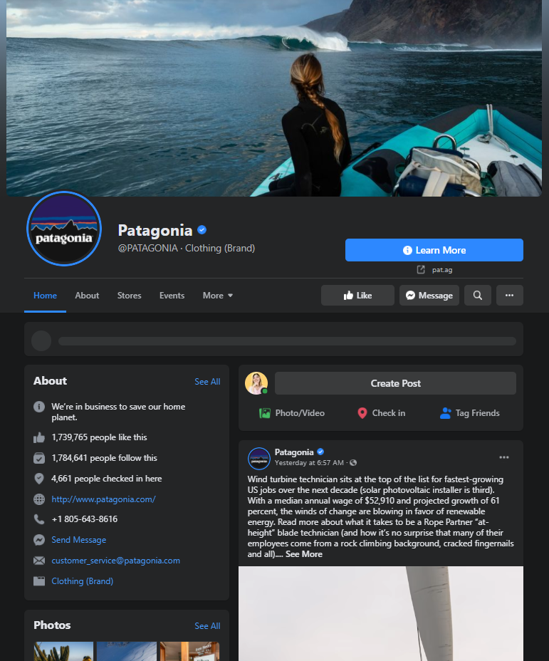patagonia facebook page example