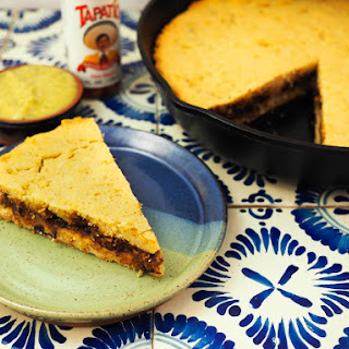 Mexican Tamale Pie (Tamal de Cazuela) With Black Bean Filling.