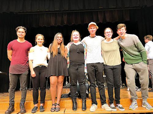 Left,  Year 12 music teacher Jeremy Berghan with students Gwenieve Merten, Keisha Leonard, Lauren Grant,  Matthew Druce, Emily Rex and Toby Davidson.