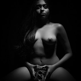 Dangerous Holes by Bihong Kollogov - Nudes & Boudoir Artistic Nude ( fine art, monochrome, nude, black and white, camera, object )
