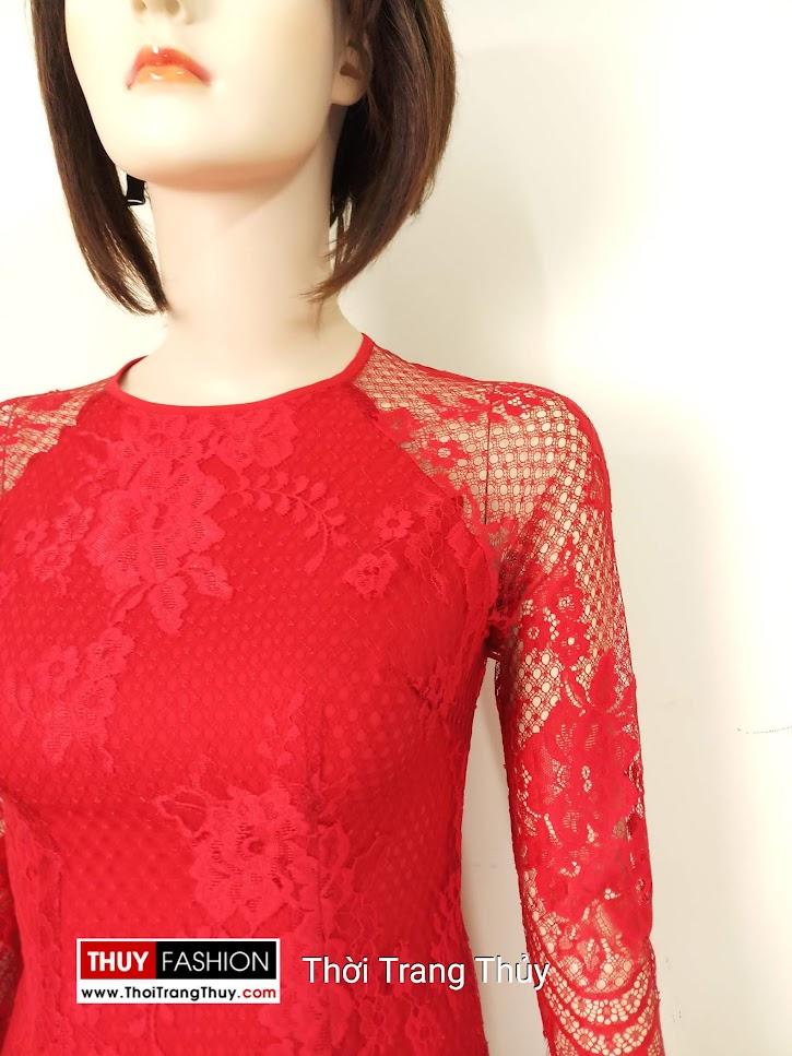 Áo dài cách tân 2 tà vải ren và lụa màu đỏ V664