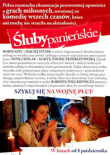 Tył ulotki filmu 'Śluby Panieńskie'