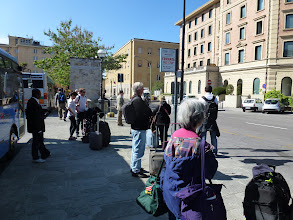 Photo: waiting for bus to take us from Siena to Rome.