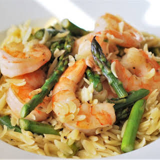 Spring Orzo with Asparagus and Shrimp.