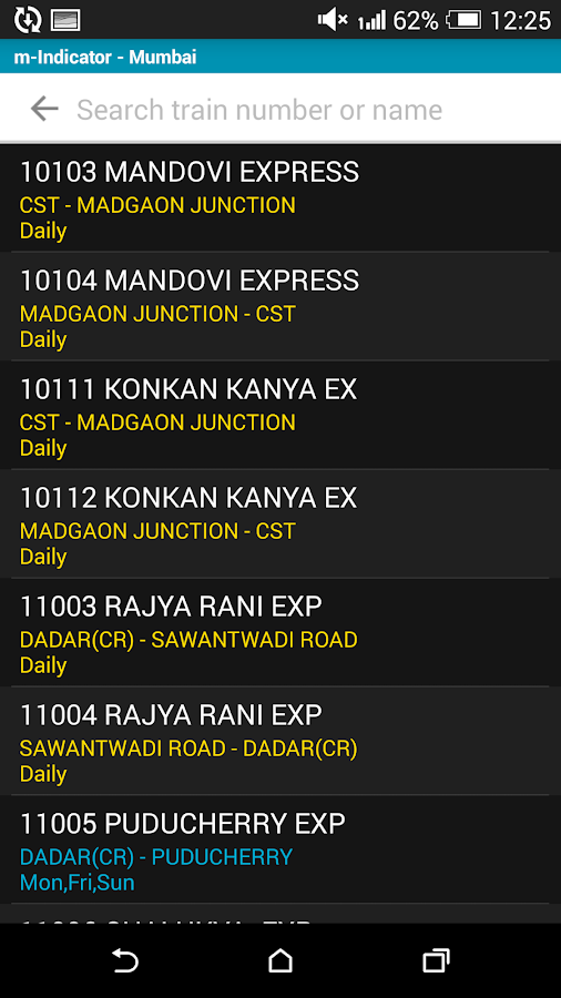 Mumbai Local Train Timetable- screenshot
