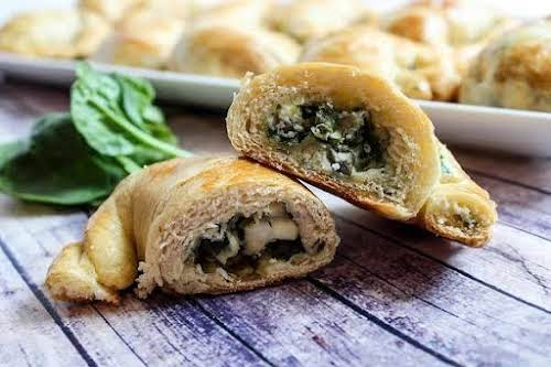 "Spinach Feta Crescent Snacks""If you love spinach & flaky pastry, this is..."