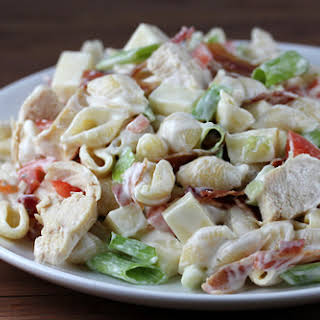 Chicken Bacon Ranch Pasta Salad.