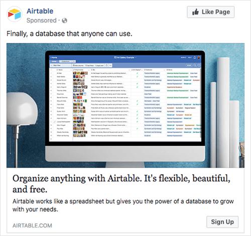 Airtable Facebook Ad Screenshot