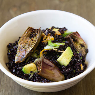 Roasted Baby Purple Artichoke Black Rice Salad