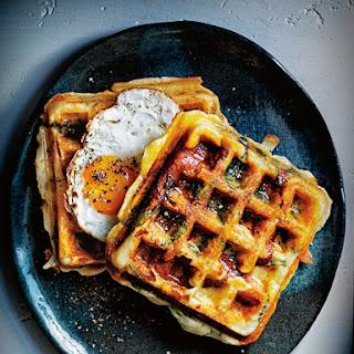 Spinach Breakfast Waffles.