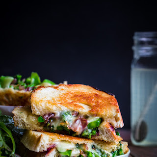 Grilled Cheese Sandwiches with Broccolini, Sautéed Red Onions, & Red Pepper Flakes.