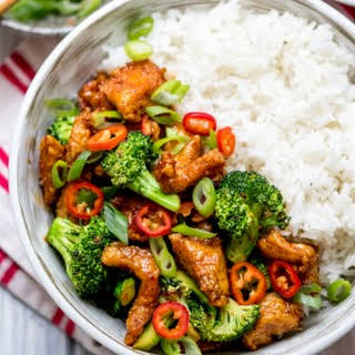 Crispy Chilli Chicken with Brocolli.