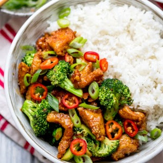 Crispy Chilli Chicken with Brocolli.