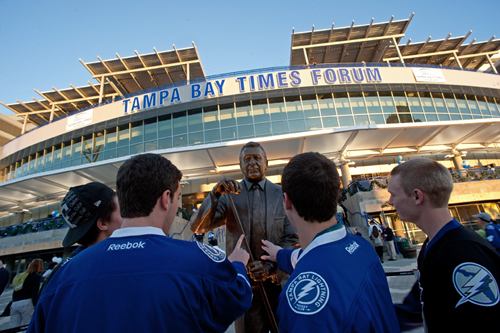 Photo: TAMPA, FL - DECEMBER 31:  Fans check out the new Phil Espostio  statue honoring the man who brought hockey to Florida, founding the National Hockey Leagues first team in the Sunshine State at the Tampa Bay Times Forum on December 31, 2011 in Tampa, Florida.  (Photo by Scott Audette/NHLI via Getty Images)