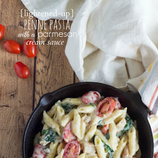 Simple Penne Pasta with a Lightened-up Parmesan Cream Sauce.