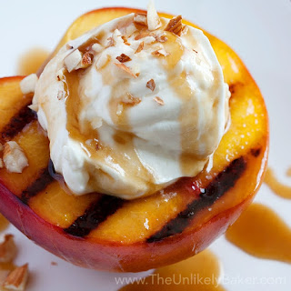 Grilled Peaches with Mascarpone Cream & Bourbon Salted Caramel Sauce.