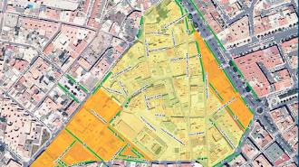 Zona de aparcamiento regulado  -ORA- en el centro (área de coexistencia)