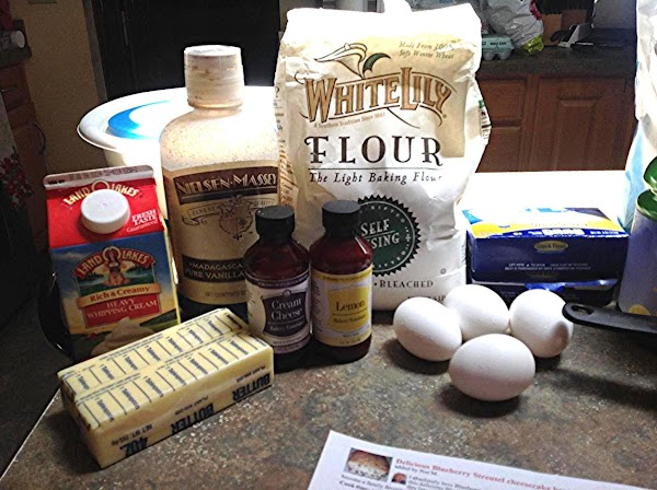 These are the main ingredients that I used to make Noreene's Blueberry Strusel Bread....
