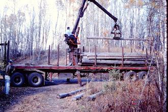 Photo: Unloading the logs