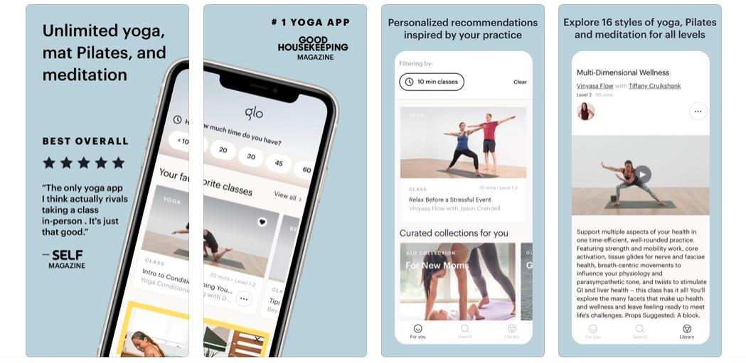 Træning apps til træning derhjemme: Glo Yoga