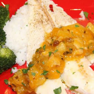 Lime Baked Fish with Crispy Garlic and Mangoes Sauce.