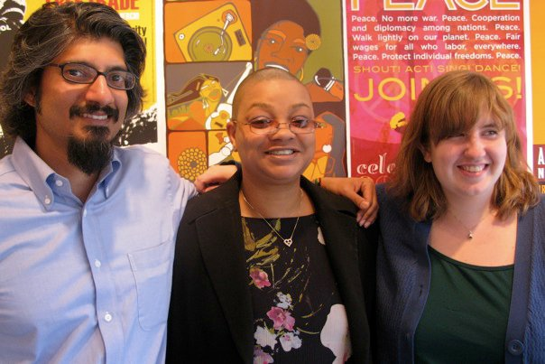 Photo: July 2010: LaResse Harvey (center), Hartford (CT) Civil Rights Coalition leader. (Pictured with BORDC Executive Director Shahid Buttar, left, and Grassroots Campaign Coordinator Emma Roderick, right.)  Read her profile: http://www.constitutioncampaign.org/blog/?p=1185