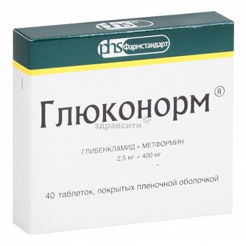 Глюконорм таблетки п.п.о. 2,5мг+400мг 40 шт.
