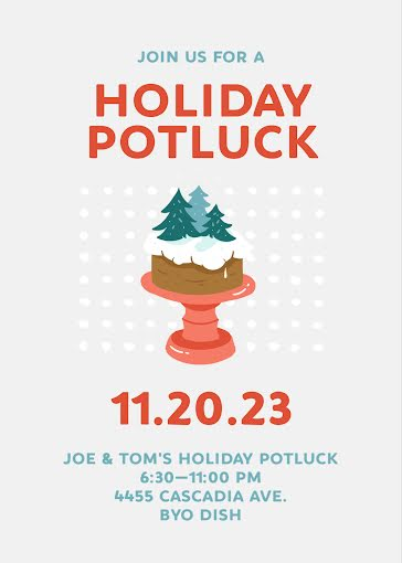 Holiday Potluck - Christmas Card Template