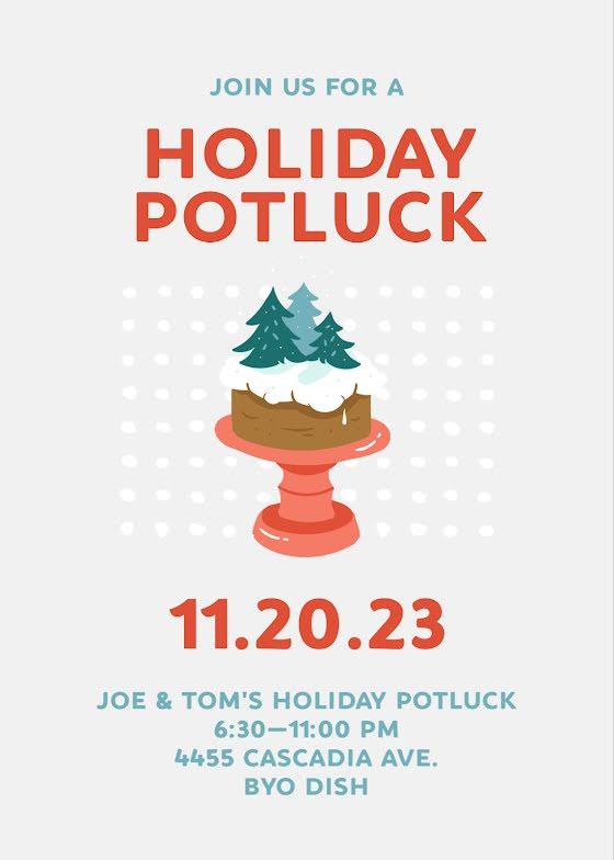 Holiday Potluck - Christmas Card Template