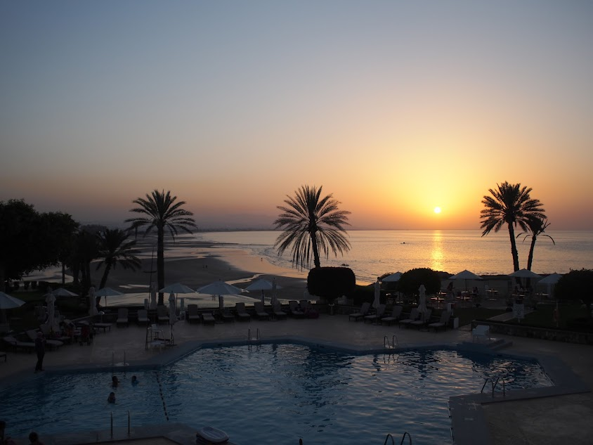 sunset in oman grand hyatt