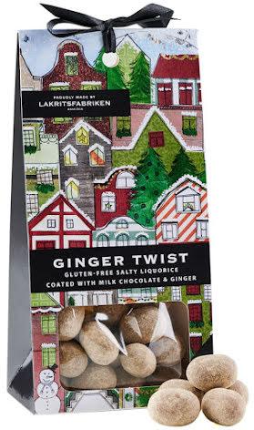 Ginger twist - saltlakrits dragerad med mjölkchoklad och ingefära - Lakritsfabriken Ramlösa