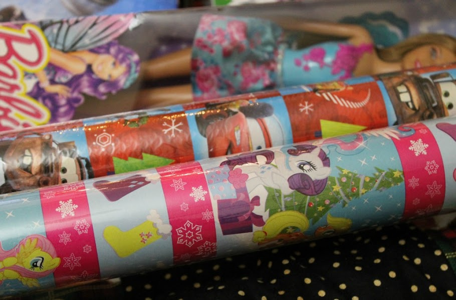 Favorite character wrapping paper like Disney Cars and My Little Pony are at Big Lots